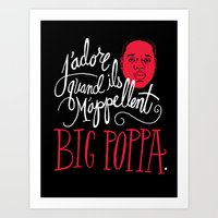 pun Art Prints featuring French Poppa by Chris Piascik