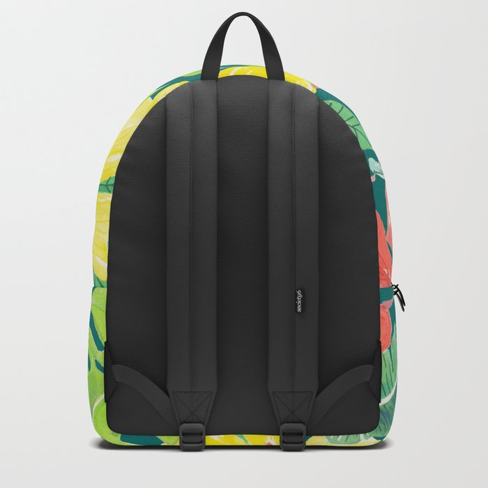 Tropical garden, hibiscus plumeria and palm leaves Backpack