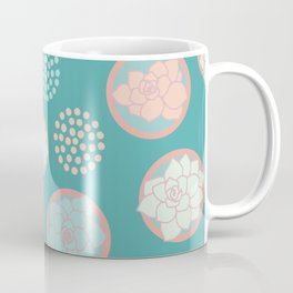 Succulent Pattern #1 | Green Background Coffee Mug