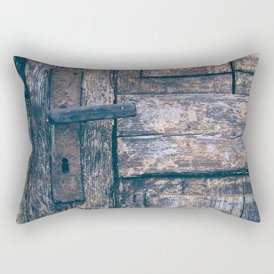 Weathered Wooden Door Rectangular Pillow
