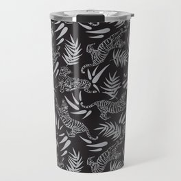 Tigers and Bamboos in the Dark / Big Cats, Leaves, Black Travel Mug