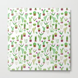 Seamless watercolor cactuses pattern Metal Print