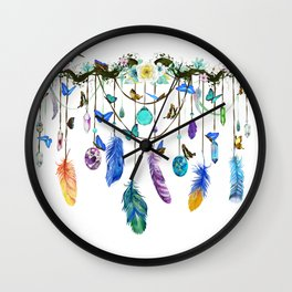 Folkestone Feather, Crystal And Butterfly Spirit Gazer Wall Clock
