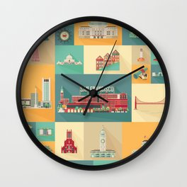 San Francisco Landmarks Wall Clock