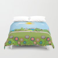 denmark Duvet Covers featuring Landscape of Denmark by Design4u Studio
