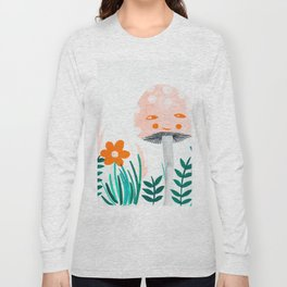 pink mushroom with floral elements Long Sleeve T-shirt