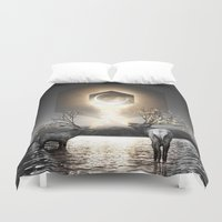lungs Duvet Covers featuring Moon Dust In Your Lungs by soaring anchor designs