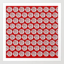 Background abstract red doodle-flowers, pattern, vector, texture design. Art Print