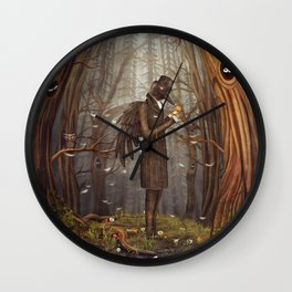 Raven in forest Wall Clock