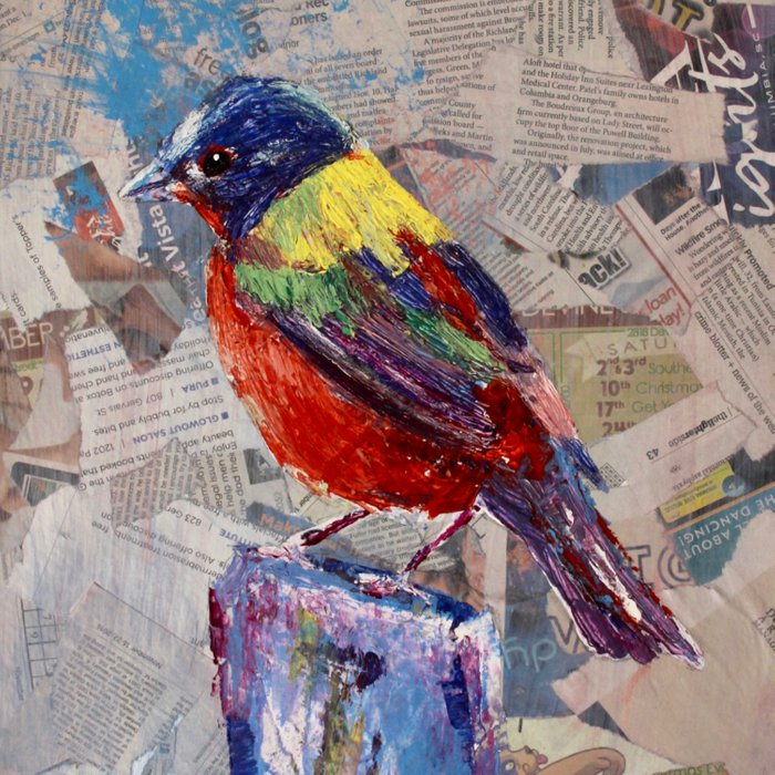 Painted Bunting Bird on Newsprint Duvet Cover