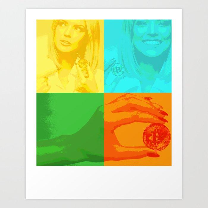 Bitcoin Girl colourful Art Print