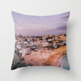 Carvoeiro town and beach in Lagoa, Algarve, Portugal. Throw Pillow