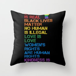Science Is Real Black Lives Matter LGBT BLM Fist Throw Pillow