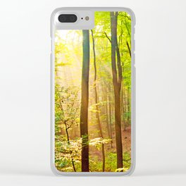 Sunbeams in the forest Clear iPhone Case