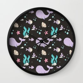 Artistic hand painted lavender teal coral whale sea fish pattern Wall Clock