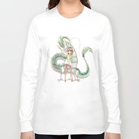 calcifer Long Sleeve T-shirts featuring Chihiro and Haku by CromMorc