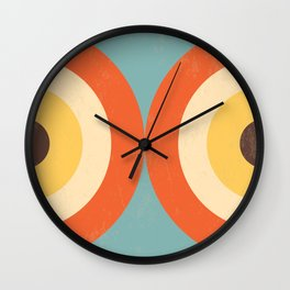 Mid Century Modern Geometrical 70s Style Retro Burnt Orange Wall Clock