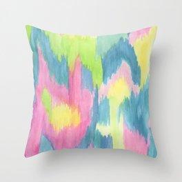 Watercolor Ikat Throw Pillow