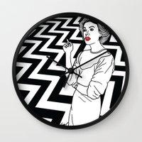 twin peaks Wall Clocks featuring Twin Peaks by Saul Art