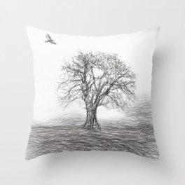 Tree Sketch 2 Throw Pillow