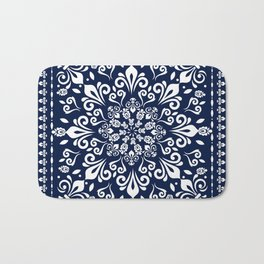 Oriental Damask white on blue #3 Bath Mat
