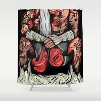 boxer Shower Curtains featuring Boxer by Ricca Design Co.
