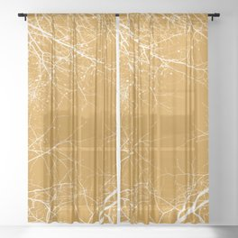 Branches Impressions on Yellow Sheer Curtain