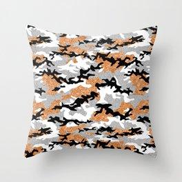 Faux Glitter Orange Camouflage Throw Pillow