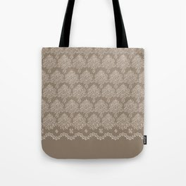 Coffee Color Damask Chenille with Lacy Edge Tote Bag