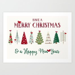 Scandinavian Christmas Trees Pattern - Red Green Art Print