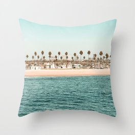 Vintage Newport Beach Print {1 of 4} | Photography Ocean Palm Trees Teal Tropical Summer Sky Throw Pillow