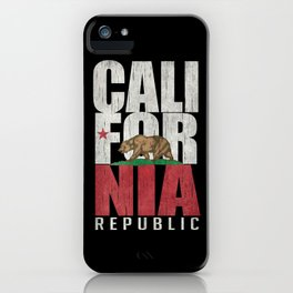 Cali Bear Flag with deep distressed textures iPhone Case