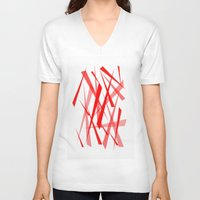 chaos V-neck T-shirts featuring chaos by Sébastien BOUVIER