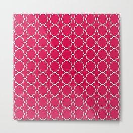 Ruby Red Quatrefoil Pattern Metal Print