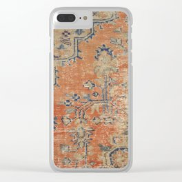 Vintage Woven Navy and Orange Clear iPhone Case