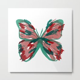 Pink and Green Butterfly Metal Print