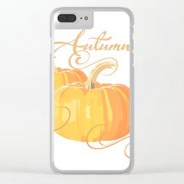 Golden Orange Autumn Pumpkins Clear iPhone Case