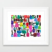 nail polish Framed Art Prints featuring Nail Polish by KahriAnne Kerr