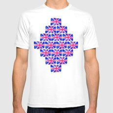 Watercolour Union Jack  MEDIUM Mens Fitted Tee White