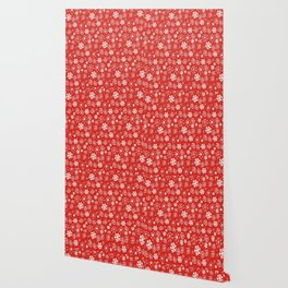 Snowflake Snowstorm With Poppy Red Background Wallpaper