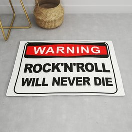 Warning sign, Rock and Roll will never die Rug