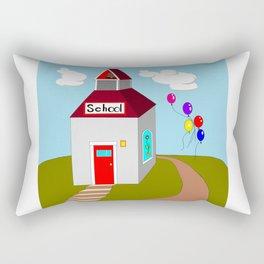 An Ole School House with Balloons Rectangular Pillow