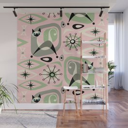 Siamese Cat Abstract on Pink Wall Mural