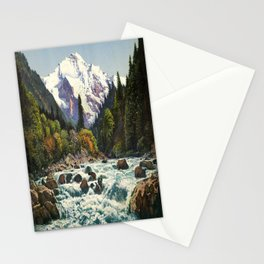 Mountains Forest Rocky River Stationery Cards