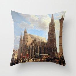 Rudolf von Alt St. Stephen's Cathedral in Vienna Throw Pillow