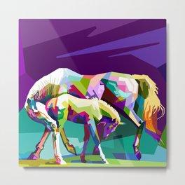 Colorful Horses (Mare & Colt) Metal Print