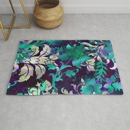 Elegant Jungle Floral Design on Midnight Purple Background Rug