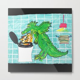 Dragon Fire Toilet Metal Print