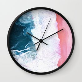 Pink Blue Ocean Aerial View Wall Clock