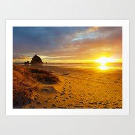 Cannon Beach Oregon at Sunset Haystack Rock Art Print
